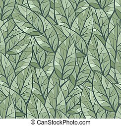 Abstract seamless pattern of leaves. Background texture. Green color palette