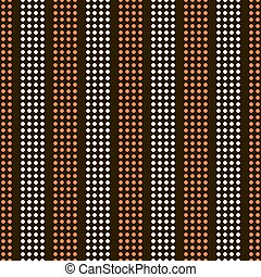 Abstract seamless pattern of small peas. Vertical alternating stripes of the circles orange and light beige colors on black background. Disco style print. Vector illustration