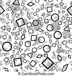 Abstract Seamless Pattern, Scattered Geometric Line Shapes.
