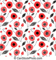 Abstract seamless pattern with a poppies