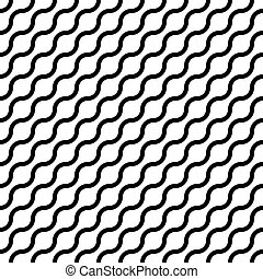 Abstract seamless pattern with black waves in diagonal arrangement on white background. Simple flat geometric vector illustration
