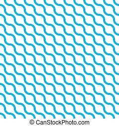 Abstract seamless pattern with blue waves in diagonal arrangement on white background. Simple flat geometric vector illustration
