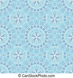 Abstract seamless pattern with blue flowers on blue background.