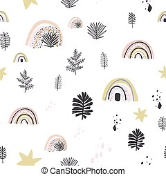 Abstract seamless pattern with Brush Strokes geometric elements. Beautiful modern texture with chaotic painted shapes. Multicolored background for your design.
