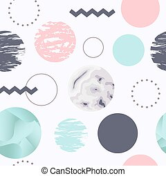 Abstract Seamless Pattern with Circles. Memphis Trendy Background. 80s 90s Fashion Design for Fabric, Print, Covering. Vector illustration