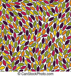 Abstract seamless pattern with colored leaves