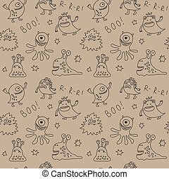Abstract seamless pattern with cute monsters and stars