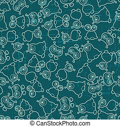 Abstract seamless pattern with cute monsters.