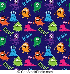Abstract seamless pattern with decorative cute monsters