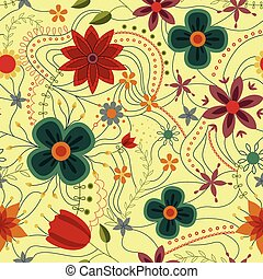 Abstract seamless pattern with flowers retro