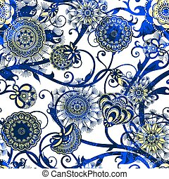 Abstract seamless pattern with flowers. Vector, EPS10 -...