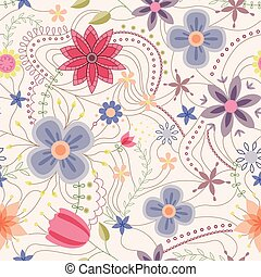 Abstract seamless pattern with flowers vintage