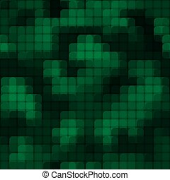 Abstract seamless pattern with green colored chaotic overlap circle tiles