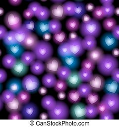Abstract seamless pattern with hearts on black background. Vector