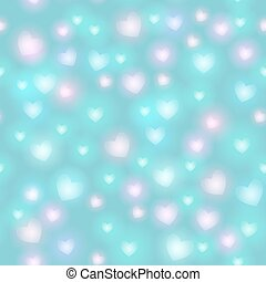 Abstract seamless pattern with hearts on blue background. Vector