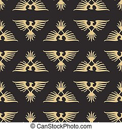 Abstract seamless pattern with heraldic eagles silhouette