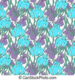 abstract seamless pattern with irises.