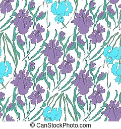 abstract seamless pattern with irises