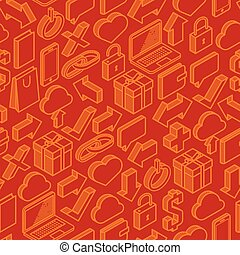 abstract seamless pattern with isometric icons