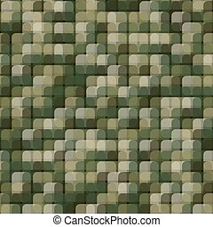 Abstract seamless pattern with khaki colored chaotic overlap circle tiles