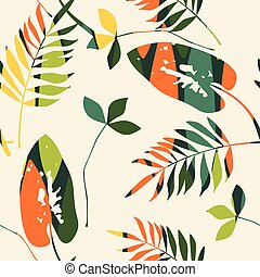 Abstract seamless pattern with leaves. Vector