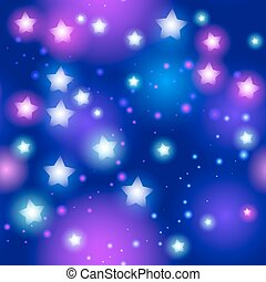 Abstract seamless pattern with neon star on black background. Vector