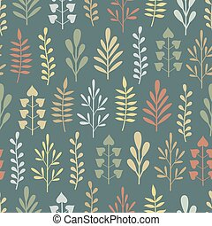 Abstract seamless pattern with plants
