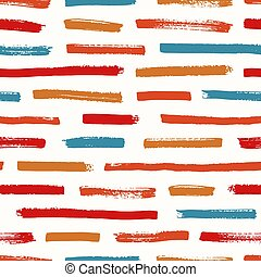 Abstract seamless pattern with red, orange and blue brushstrokes on white background. Vibrant backdrop with horizontal paint traces or smears. Vector illustration in grunge style for fabric print.