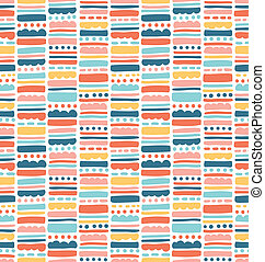 Abstract seamless pattern with stripes and dots