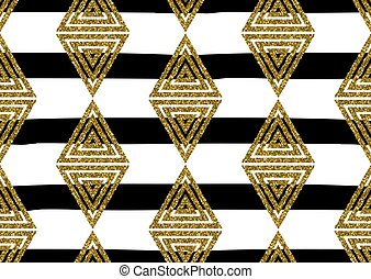 Abstract seamless pattern with the gold glitter textured triang