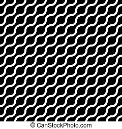 Abstract seamless pattern with white waves in diagonal arrangement on black background. Simple flat geometric vector illustration
