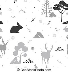 Abstract seamless pattern with winter forest.