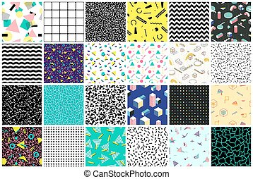 Abstract seamless patterns 80's-90's styles. - Trendy...