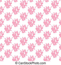 Abstract seamless pink heart vector background