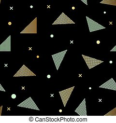 Abstract seamless repeating pattern with triangles in gold glitter and black on black background.