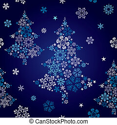 Abstract seamless snowflake tree