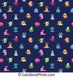 Abstract seamless stylish pattern with different aliens