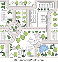 Abstract seamless vector background, pattern, wallpaper, backdrop with houses, roads, trees. Urbanistic landscape plan. City, town map. Template for web design, printing on fabric, textiles, clothing