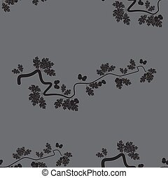 Abstract seamless vector background with oak leaves and acorns