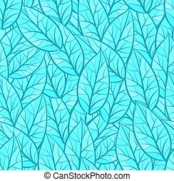 Abstract seamless vector pattern of leaves. Winter theme. Dark and light blue colors. Isolated