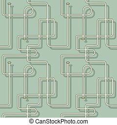Abstract seamless vector pattern of pipes. Isolated from the background