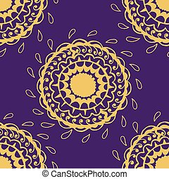 Abstract seamless with round gold pattern.