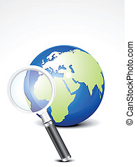 abstract search icon with globe