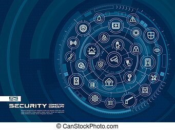 Abstract security, access control background. Digital connect system with integrated circles, glowing thin line icons.