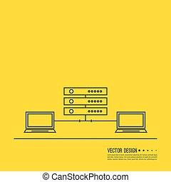 abstract, server., netwerk, achtergrond