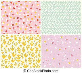Abstract set, 4 seamless patterns