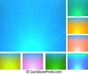 abstract, set, achtergronden, kleurrijke