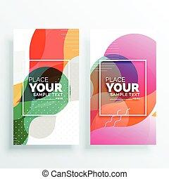 abstract, set, banieren, kleurrijke, creatief