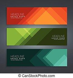 abstract, set, banieren, kleurrijke