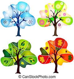 abstract, set, bomen